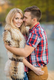 Young couple in love outdoors. Stock Photos