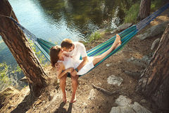 Young couple in love outdoors royalty free stock images