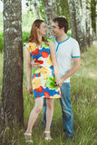 Young couple in love outdoors Royalty Free Stock Photos