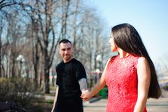 Young couple in love in a park.  royalty free stock photos