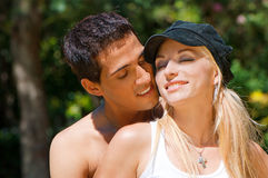 Young couple in love in park Stock Photography