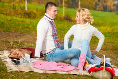 Young couple in love at the picnic Royalty Free Stock Images