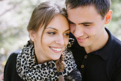 Young couple in love portrait, close up / style photo with soft Stock Photos
