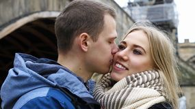 Young couple in love Prague royalty free stock photography