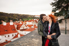 Young couple in love. Prague, Czech Republic. Europe royalty free stock photography