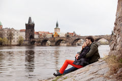 Young couple in love. Prague, Czech Republic. Europe royalty free stock image
