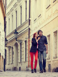 Young couple in love. Prague, Czech Republic, Europe. Royalty Free Stock Image