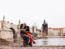 Young couple in love. Prague, Czech Republic Royalty Free Stock Image