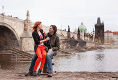 Young couple in love. Prague, Czech Republic Royalty Free Stock Images