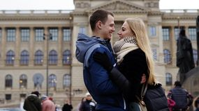 Young couple in love in Prague 2019 stock images