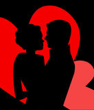 Young couple in love. Profiles (separate elements in Vector royalty free illustration