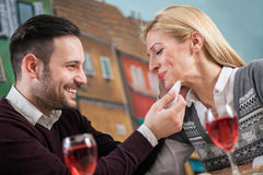 Young couple in love at restaurant Stock Image