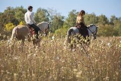 Young couple in love riding a horse Stock Photos