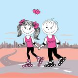 Young  couple in love on roller skates jogging. Urban landscape on the background, vector illustration,stock vector illustration Stock Photography