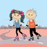 Young  couple in love on roller skates jogging. Urban landscape on the background, vector illustration,stock vector illustration Stock Image