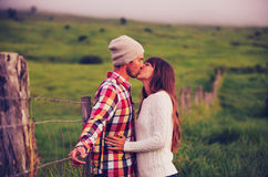 Young Couple in Love. Romantic Young Couple in Love Outdoors Stock Images