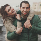 Young couple in love in the small italian city Stock Photos