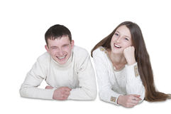 Young couple in love smiling Stock Photos