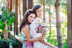 Young couple in love are smiling and looking at each other Stock Photography