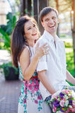 Young couple in love are smiling and looking at each other Stock Image