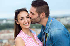 Young couple in love on the street Royalty Free Stock Photo