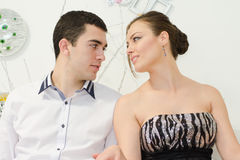 Young couple. In love in studio Stock Photography