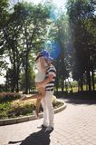 Young couple in love at the summer park royalty free stock image