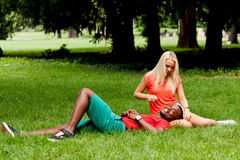 Young couple in love summertime fun happiness romance Stock Images