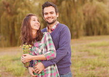 Young couple in love walking Stock Photography