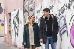 Young couple in love walking. In the city Royalty Free Stock Photo