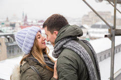 Young couple in love walking in the city, holding hands Royalty Free Stock Photography