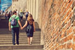 Young couple in love walking on a city street . sightseeing traveler. Prague, Czech Republic royalty free stock photos