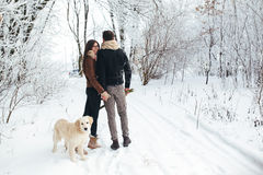 Young couple in love walking with dog. Hugging young couple in love walking with dog outdoors in snowy winter Royalty Free Stock Image