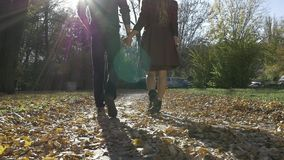 Young couple in love walking in nature stock video footage