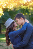 Young couple in love walking in the park Stock Photo