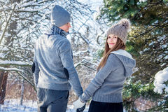 Young couple in love walks in the forest Royalty Free Stock Photos