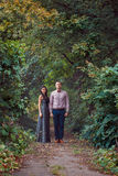 Young couple in love walks in nature Royalty Free Stock Photography