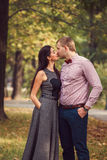 Young couple in love walks in nature stock photography