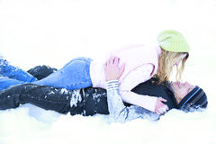 A young couple in love  in winter Royalty Free Stock Images