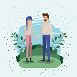 Young couple lovers in the field vector illustration