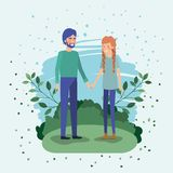 Young couple lovers in the field stock illustration