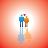 Young lovers couple icon(symbol) with heart sign of boy & girl Stock Photography