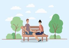 Young couple lovers sitting on park chair. Vector illustration design stock illustration