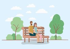 Young couple lovers sitting on park chair. Vector illustration design royalty free illustration