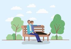 Young couple lovers sitting on park chair. Vector illustration design vector illustration