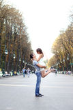 Young Couple Lovers in street Stock Photography