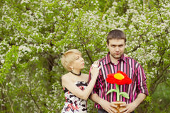 Young couple loving each other posing outdoor Royalty Free Stock Photography