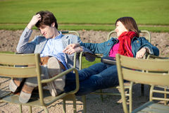 Young couple in the Luxembourg Garden Royalty Free Stock Photography
