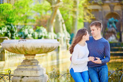 Young couple in the Luxembourg gardens Royalty Free Stock Photo