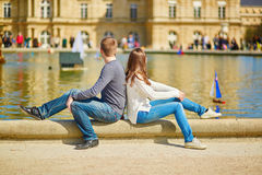 Young couple in the Luxembourg gardens Stock Photography